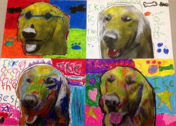 Four kid's drawings of Ike's head put together in a four square, like an Andy Warhol painting.