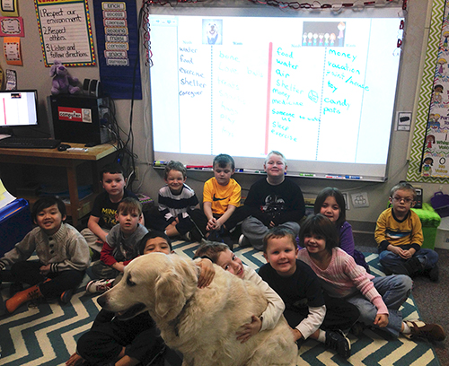 Photo of kids hugging Brewster in classroom in from of a smart board with needs vs wants lesson.